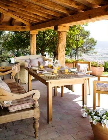 muebles coloniales para terraza