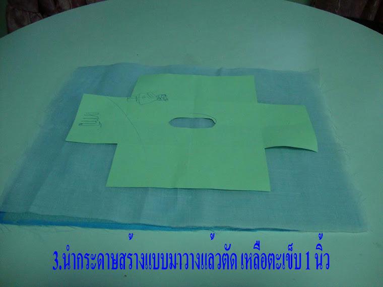 นำกระดาษสร้างแบบมาวางบนผ้า