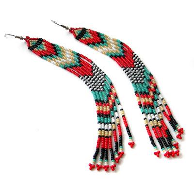 купить этнические серьги из бисера индейские украшения россия