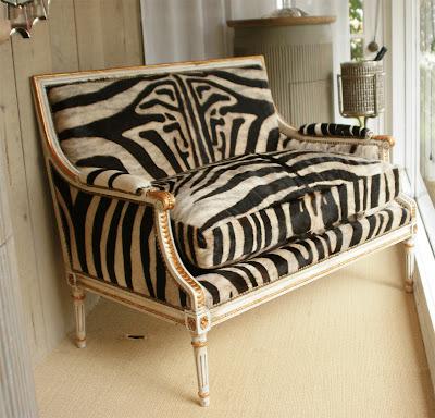 Vintage Zebra Hide Settee Louis XVI giltwood 1940s