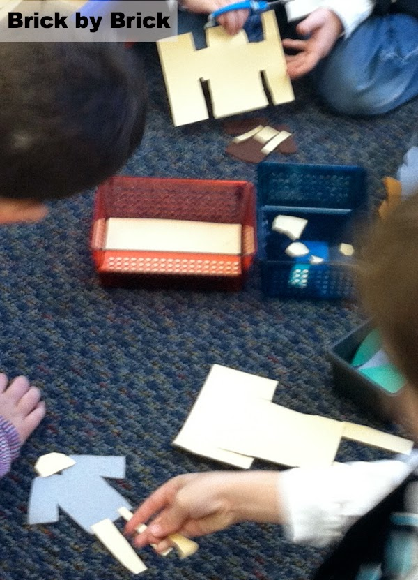 cutting figures in the blocks center