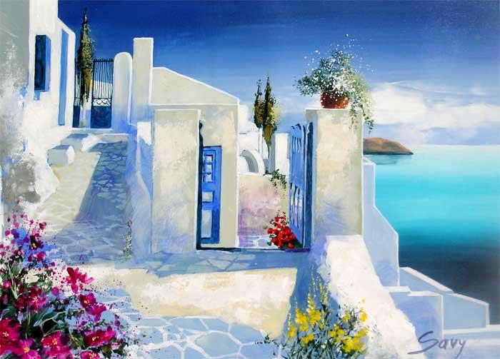 André Savy | French Landscape painter | Santorini Walkway