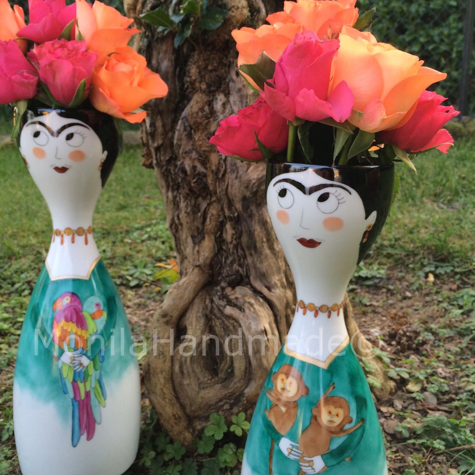 monila Handmade,porcellana,dipinto a mano,Frida kahlo,vaso
