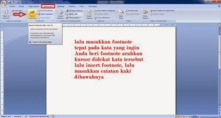 Catatan kaki di MS Word Catatan kaki di MS Word