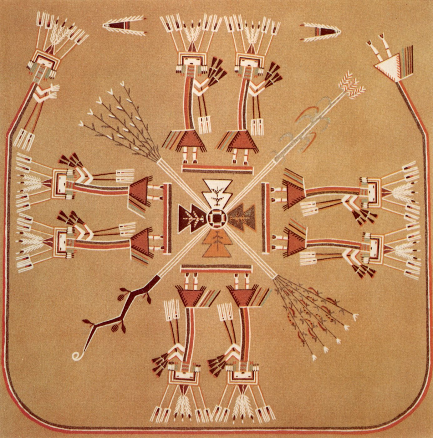 Chaudron pollen boy on the sun navajo sandpaintings this sandpainting is often erroneously referred to as eagle on the sun which is a complete misnomer since there is no such sandpainting biocorpaavc Images