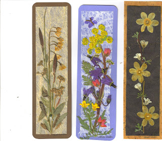 Pressed Flower Bookmarks by Janet London of London Hummingbird Arts