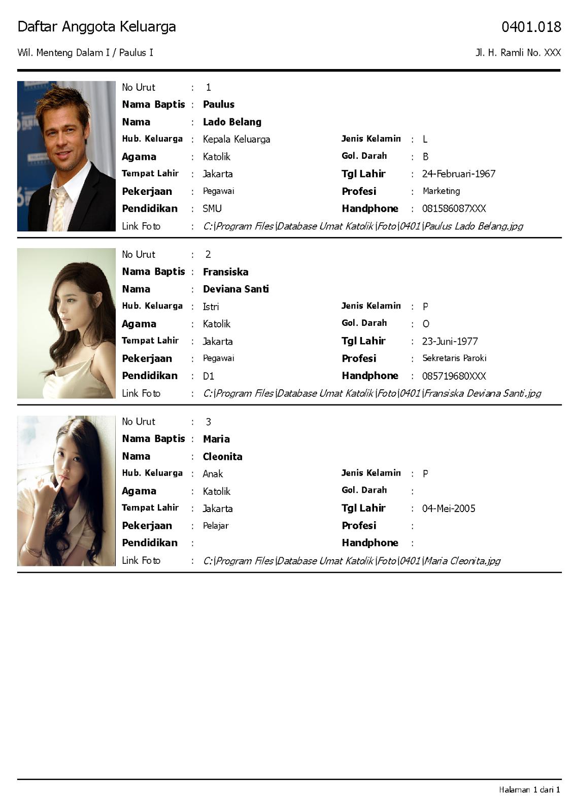 Cetak Profil Keluarga