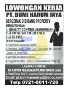 Lowongan kerja Lampung, 26 Februari 2015 di PT. Bumi Harum Jaya
