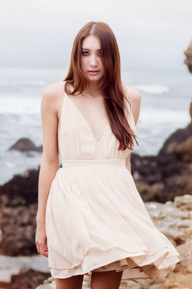 Alyssa Nicole Spring 2014, Silk Vneck Dress, Nude Color Dress, Nude Chiffon Dress, Gladiator Sandals , Sam Edelman, Alyssa Nicole Style Blog, Beach Waves Hairstyle
