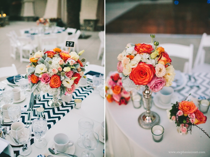 """coral flowers and navy chevron wedding centerpieces"""