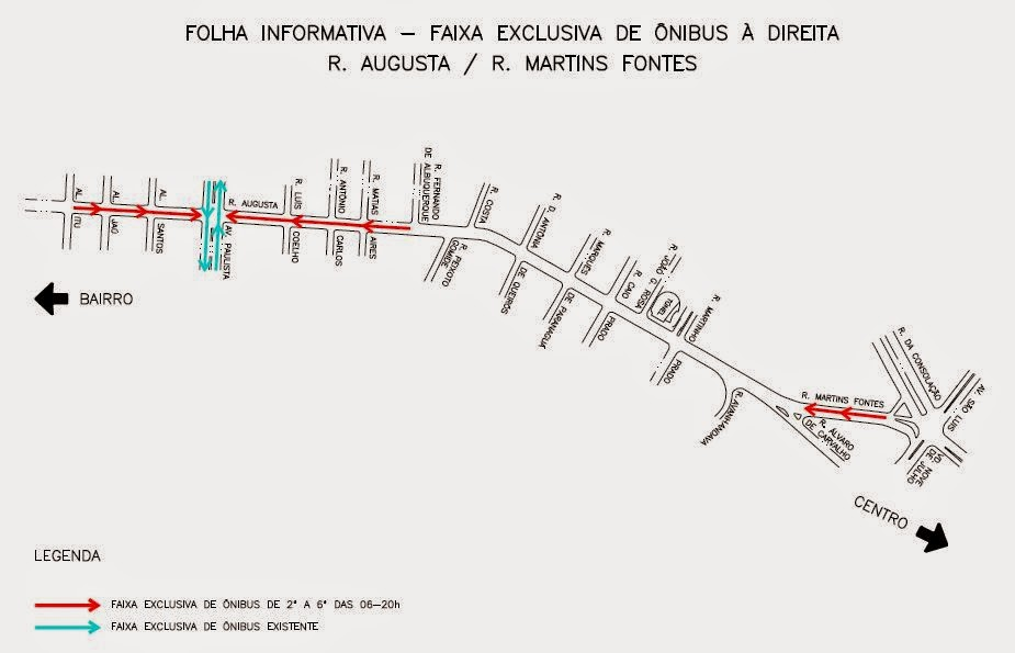 Faixa exclusiva para ônibus nas ruas Martins Fontes e Augusta