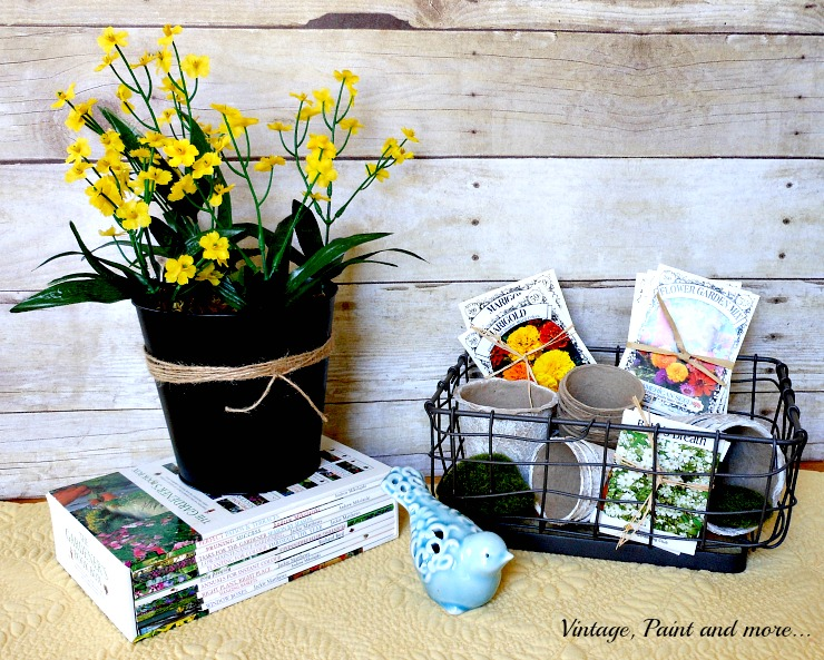 Vintage, Paint and more... DIY tin with paint and twine, wire basket with painted peat pots