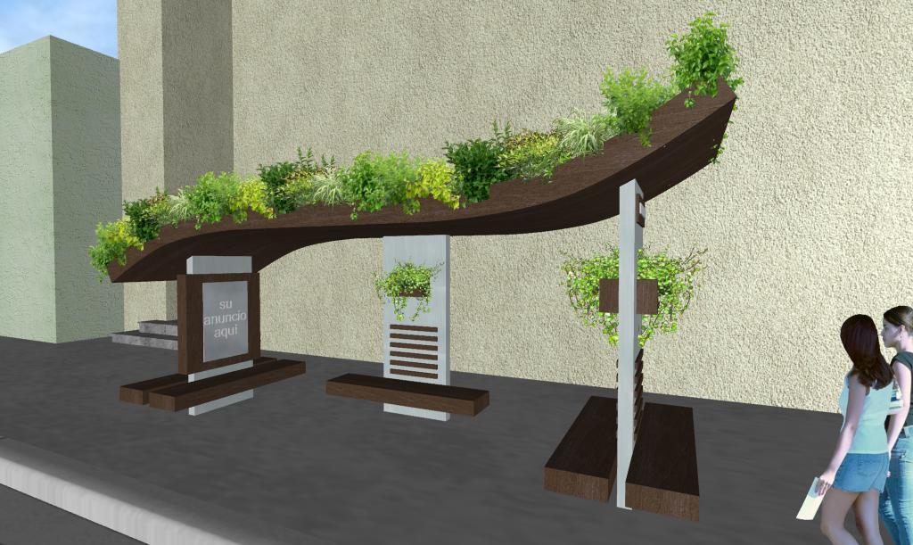 Diseño Parabus Ondine con Jardin en la Azotea y Macetas con Plantas Colgantes 2