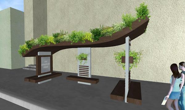 diseño de paraderos de autobus ecológicos con jardines verticales y jardines colgantes