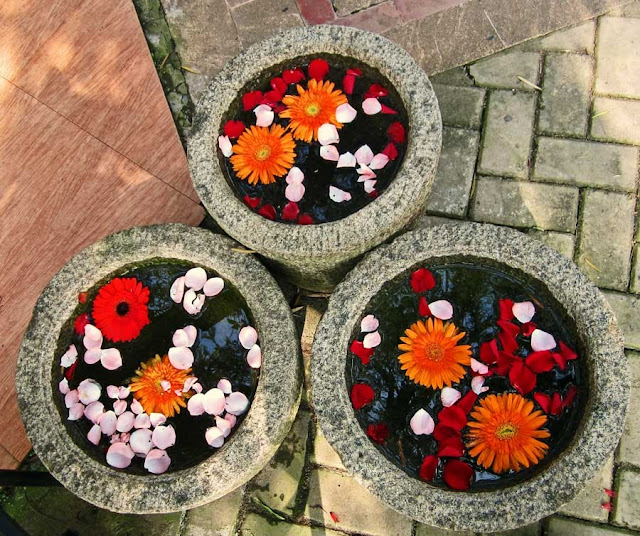 floating flowers in three stone pots