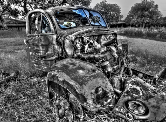 Rusty Abandoned tore down 1940's truck - Cedar Park, Texas - Black and White with color windshield