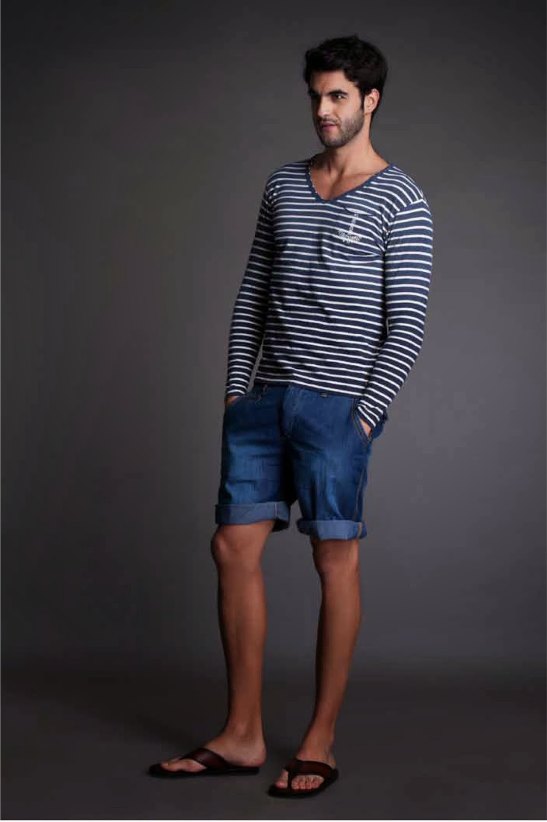 Striped tee with denim shorts to beat the summer blues.