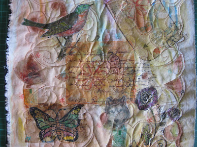 collage use inks, tea bags, abaca paper