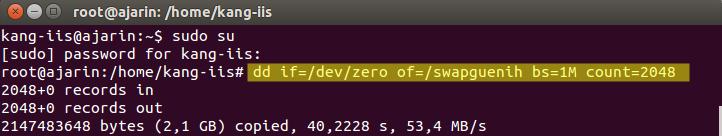 Perintah Linux - Membuat swap