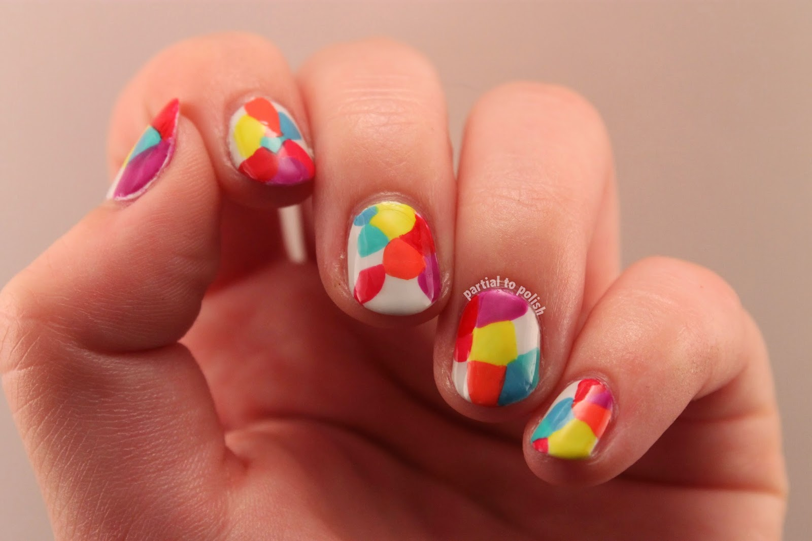 Rainbow Geometric Nail Art Inspired by MrCandiipants and my Samsung Galaxy S5 Background!