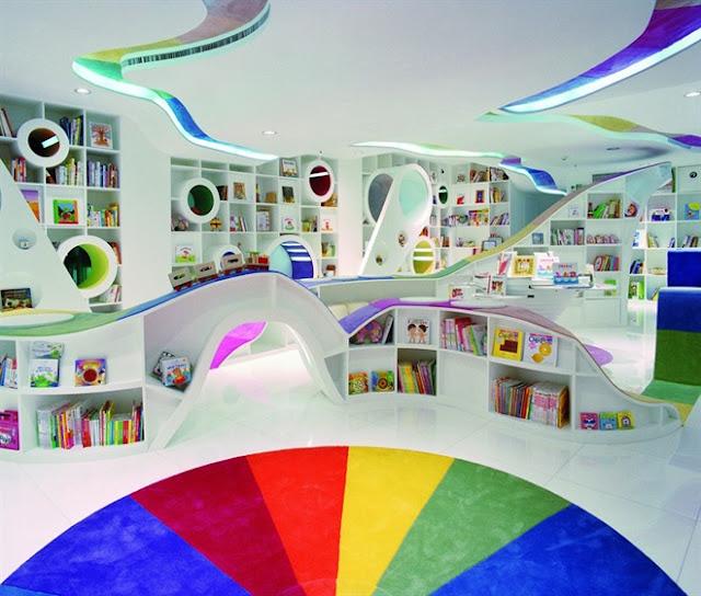 مكتبة الأطفال في الصين مكتبة رائعة بكل ألوان الطيف The-Kid-Republic-11