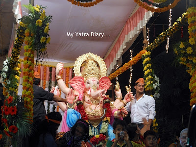 A Ganesha idol being taken for Ganesh Visarjan in Mumbai
