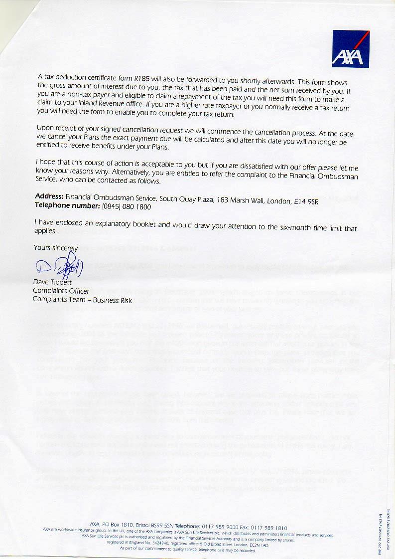 My AXA Sun Life True Story – Financial Ombudsman Service Complaint Form