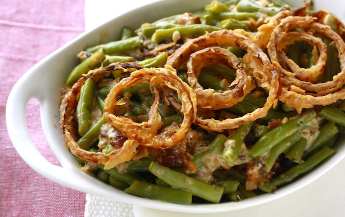 Homemade green bean casserole for Thanksgiving by SeasonWithSpice.com