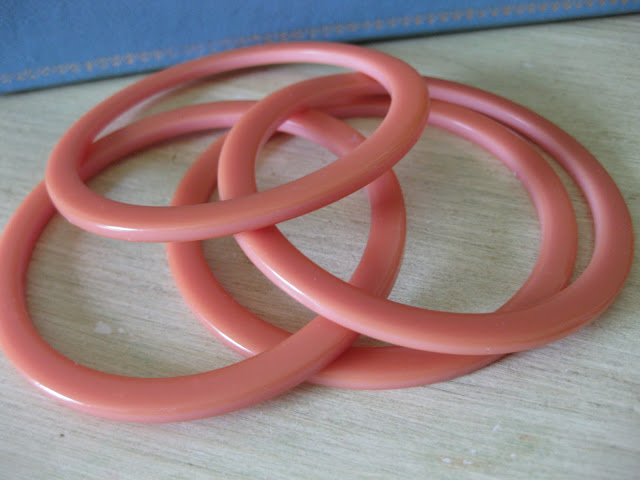 pink bakelite spacer bracelets