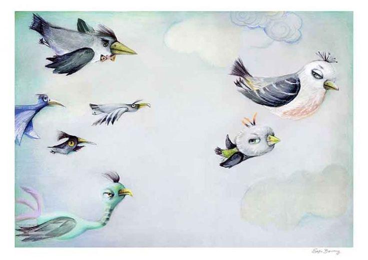 illustration fra Sofie Børsting. Oprindeligt til en børnebog, men også flot til væggen.