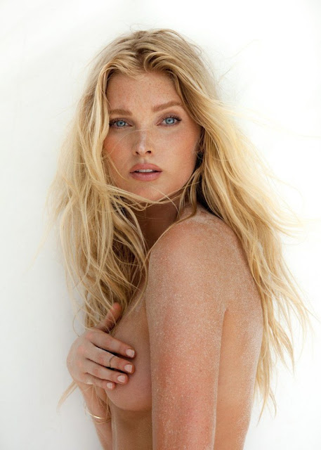 Elsa Hosk goes topless on the beach for GQ magazine Mexico August 2015