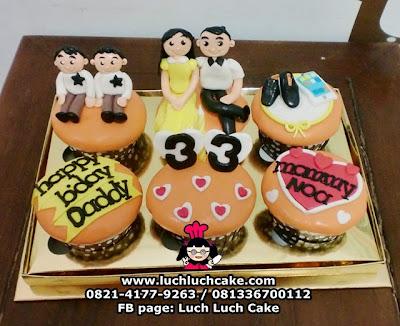 Cupcake Tema Keluarga Ulang Tahun Ayah
