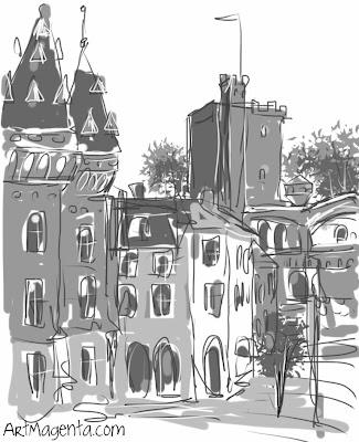 Helsingborg, urban sketch by ArtMagenta.