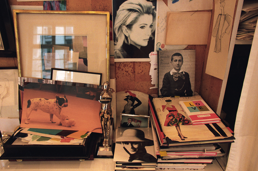Yves Saint Laurent cork board in the studio at 5 avenue Marceau photographed by Alexandra Boulat in 2002