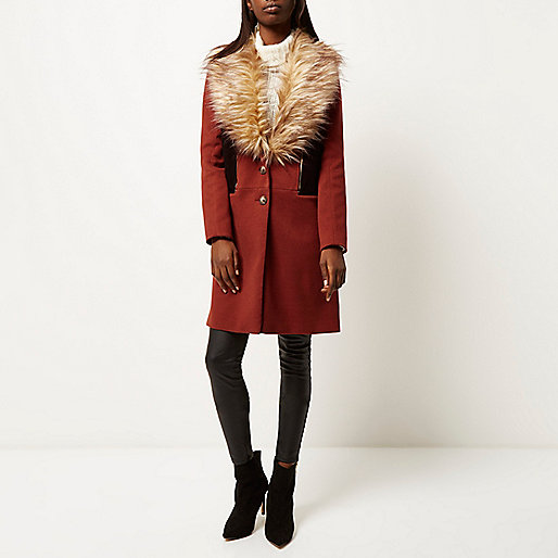 river island russet fur coat, burnt orange fur coat,