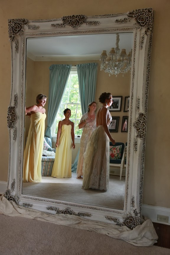 Rust Manor Bride Getting Ready Photo Mirror
