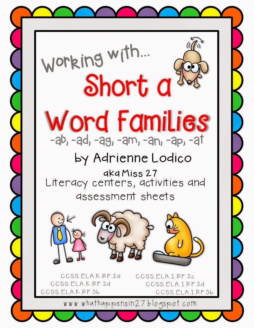 http://www.teacherspayteachers.com/Product/Working-with-Short-a-Word-Families-CVC-center-activities-assessment-sheets-734489