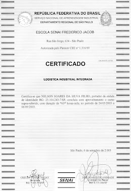 CERTIFICADO DO CURSO TÉCNICO DE LOGÍSTICA INDUSTRIAL INTEGRADA