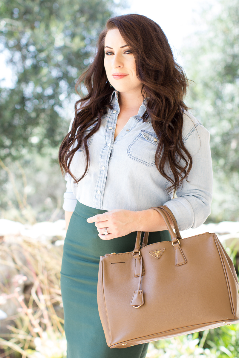 chambray shirt and pencil skirt