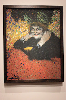 "Photograph of Picasso's painting ""Old Woman (Woman with Gloves), 1901."" Exhibit held at AIC."