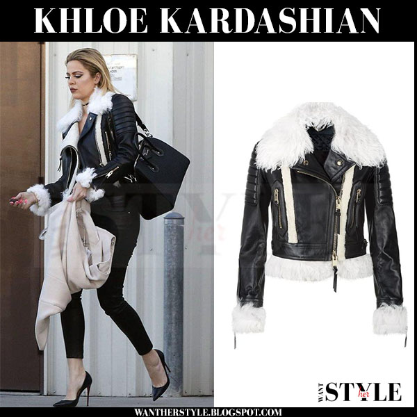 Khloe Kardashian in black leather biker jacket with white trim burberry what she wore streetstyle