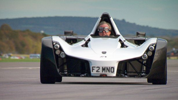 Clarkson rearranges his face in the BAC Mono