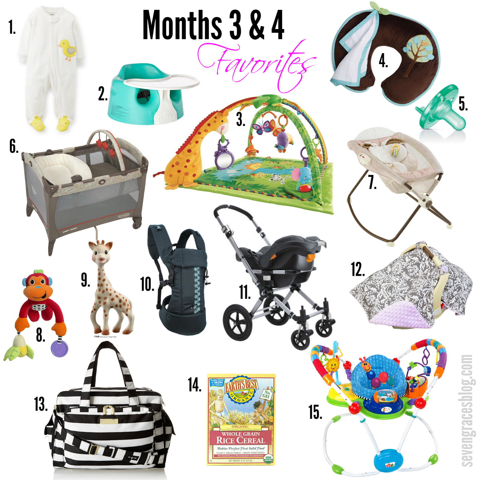 Seven Graces: Top 15 Baby Items for Months 3 & 4