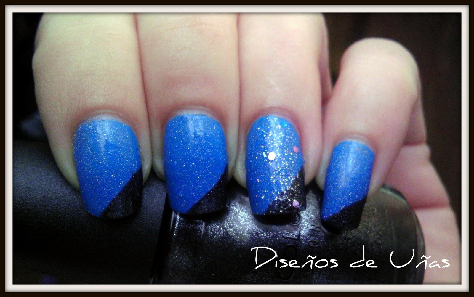 Diseños de Uñas: Azul y Negro!