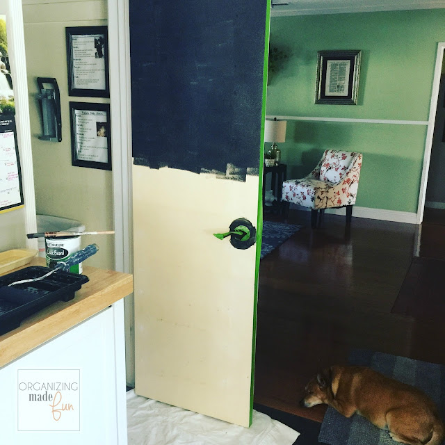 Painting a chalkboard on the back of the door :: OrganizingMadeFun.com