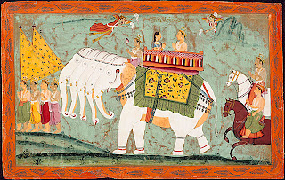 . Indra and Indrani enthroned in Indra's heaven, Swarga, among the clouds of Mount Meru, and attended by groups of Apsaras and Gandharvas heavenly nymphs and musicians. Rajput painting, early nineteenth century. Museum of Fine Arts, Boston, Massachusetts. Ross Coomeraswamy Collection.