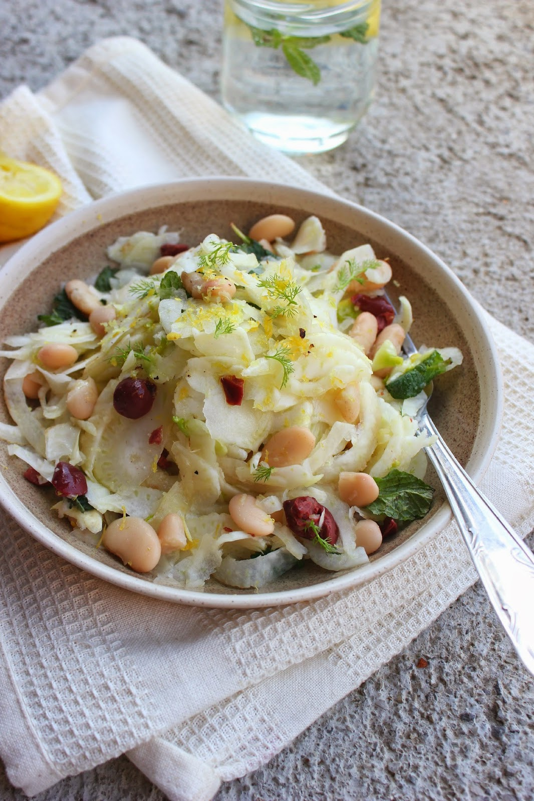 Shaved Fennel and White Bean Salad with Olives, Lemon & Mint | happy hearted kitchen