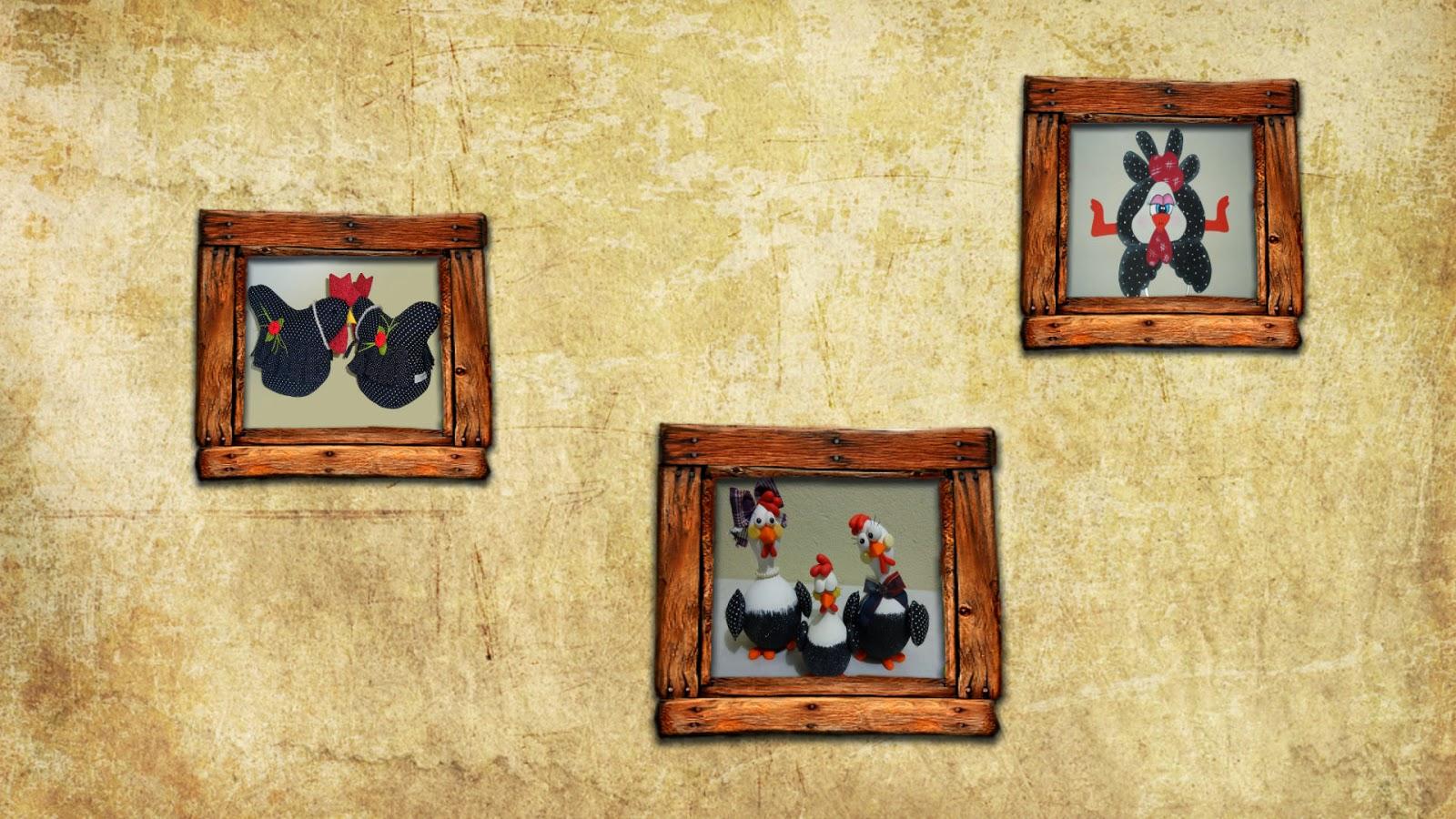 Mural de galinhas de angola com moldura