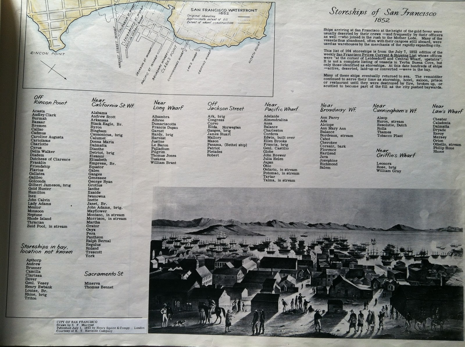map and views of San Francisco with table of Gold Rush storeships