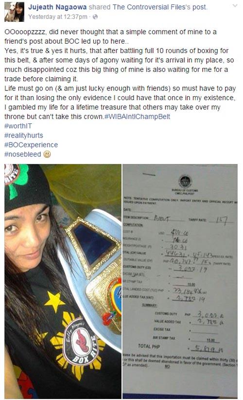 Jujeath Nagaowa belt taxed by BOC